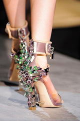 Padlock Spiked High Heels ,Transparent PVC Rihanna Style Crystal Pumps Padlock Spiked High Heels Beaded - Size 5 to 10.5