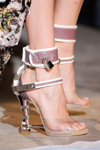 Padlock Spiked High Heels ,Transparen