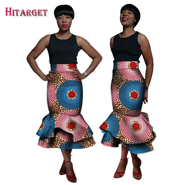 2017 Autumn African Women Clothing Double Layer Mermaid Skirts Bazin Wax Print Stacked Skirts Dashiki African Clothes WY1786