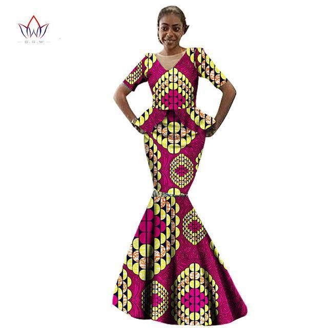 2 Pieces African Women Maxi African Print Clothing Top and Skirt and Short Sleeve and Long Skirt