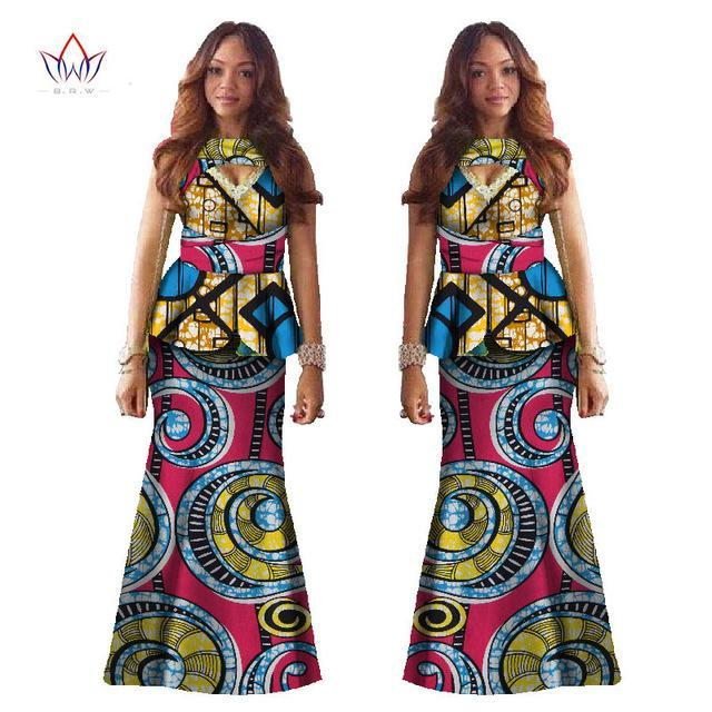 2017 African Suit Dashiki Kanga Clothing African V-neck Sleeveless Cotton Print 2 Piece Crop Top and Skirt Set Women BRW WY521