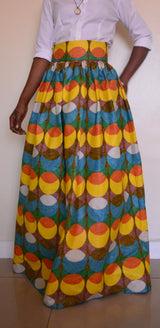 High Waisted Vintage African Print Long Maxi Chiffon African women skirt with belt-0wm12