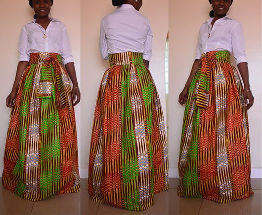 Fashion Women's Chiffon Skirt Traditional African Print Clothing Long Skirt with belt-0wm12