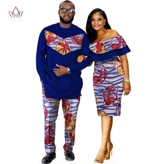 29c0552dc25 African Dashiki Print Couple Clothing for Lovers Two Piece Set Men s Suit Plus  Women s Ruffle Sleeve ...