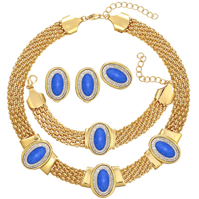 CWEEL Imitated Blue Jewelry Sets For Women African Beads Wedding Bridal Pendant Statement Necklace Earrings Accessories