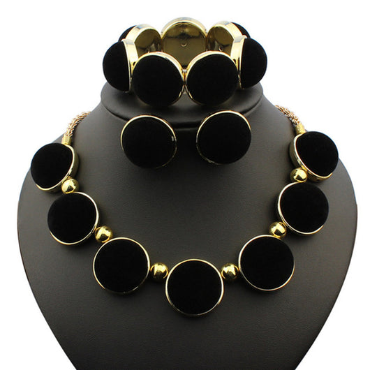 Black Necklace Earrings Bracelet Jewelry Sets Round Piece African Beads Jewelry Sets For Women Crystal Wedding Jewelry Sets