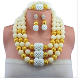 Nigerian Wedding African Beads Jewelry Set,Yellow African Costume Jewelry Sets Handwork Balls Beads Necklace Sets-0WM1808