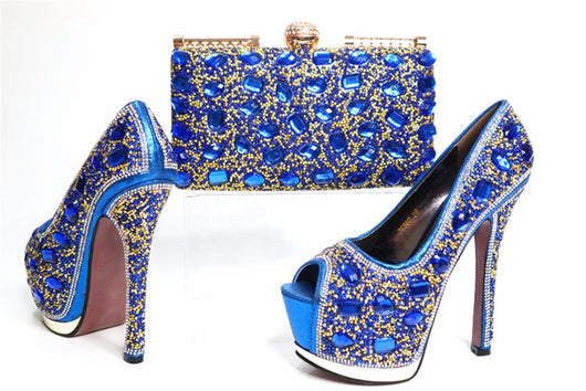 High Quality Italian crystal high heel matching shoes and purse platform sets -001