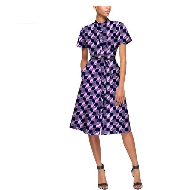 african casual dress for women ankara private custom short sleeve knee-length button dress with sashes A7225109