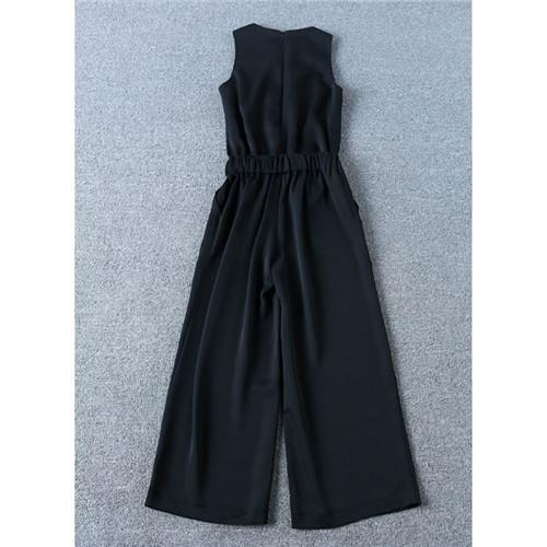 2017 New Arrival Regular Jumpsuits Fashion Runway Women's Victoria Beckham Elegant Sleeveless One-piece wide Legs Jumpsuit black