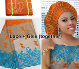 5 yards African French lace Tulle Fabric Guipure bordered Matching Crown ASO OKE Headtie Full Length Head Tie Gele Headscarf-D1141