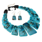 4 Colors African jewelry Resin Necklace and Earrings Jewelry Sets-OWAME78
