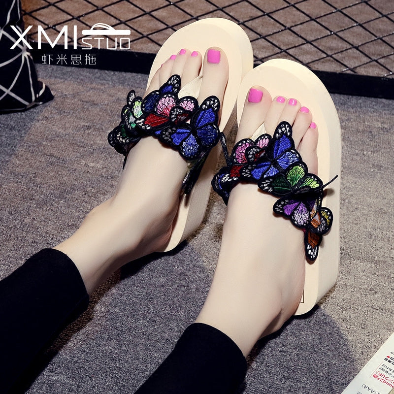 women platform sandals women brand butterfly flip flops Korean handmade butterfly wedges shoes woman big size 0w77