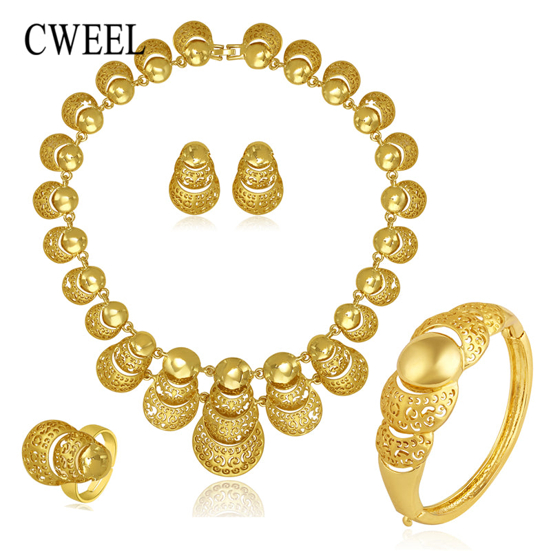 CWEEL Jewelry Sets Women Luxury African Beads Jewelry Set Round Gold Color Dubai Jewelry Sets For Bride Indian Jewellery Set