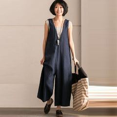 c3e3c84025bd6 Wide Leg Trousers Women Vintage Bib Overalls Sleeveless Strappy Dungarees  Solid Loose Rompers Jumpsuits Pants Plus ...