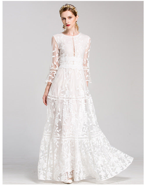 4576a4501e535 QYFCIOUFU Runway Maxi Dress Women's Long Sleeve High Quality Red White  Tulle Embroidery O-neck Floor Length Elegant Party Dress
