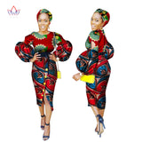 African Long Sleeve Ankara print  Women Clothing with Free Head-wrap