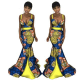 African Sexy Strapless Mermaid Dresses for Women Clothing, Dashiki African Wax Print Splice Dresses