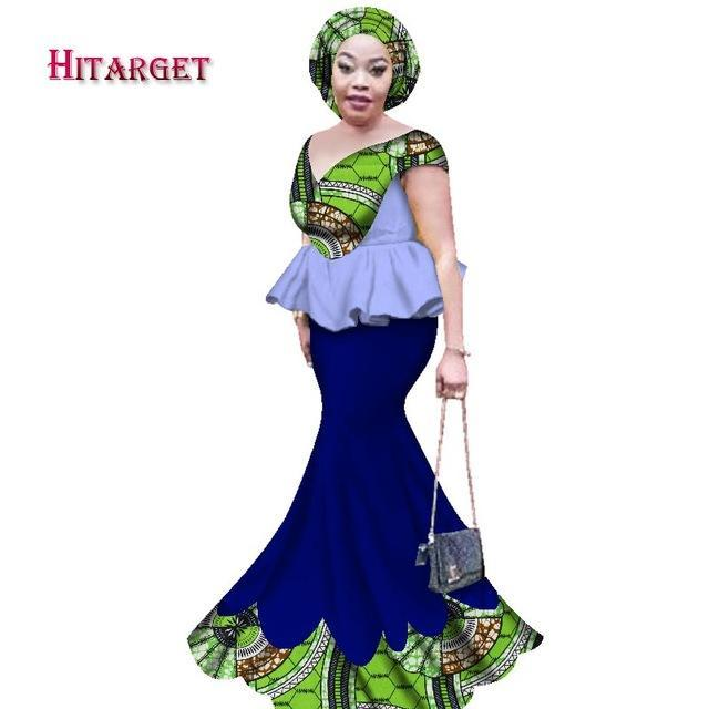 2017 New Skirt Set African Designed Clothes Traditional Bazin Print Riche Plus Size Skirt Set Evening Dress Clothing WY2433