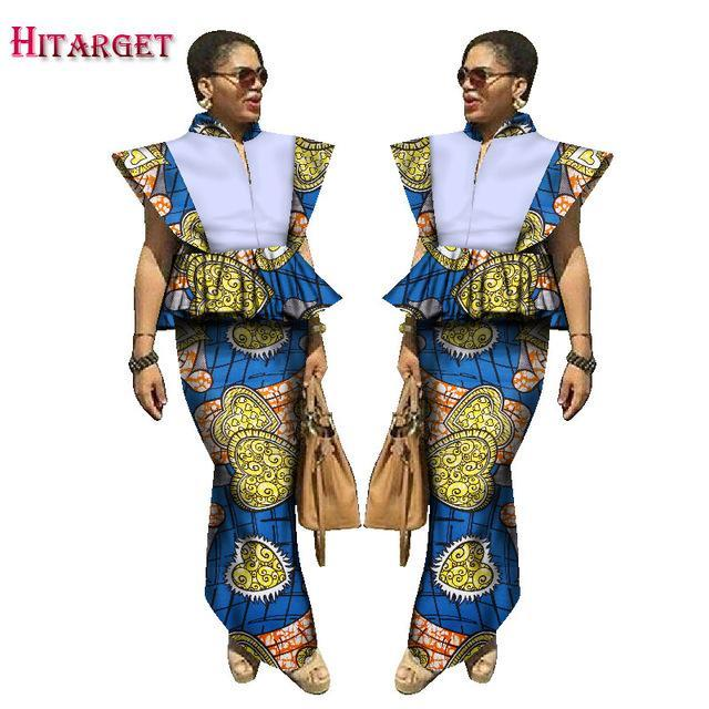 2017 African Skirt Set For Women Africa Traditional Skirt and Top Dashiki Pint Wax 2 Piece Suits African Kanga Clothing WY1643