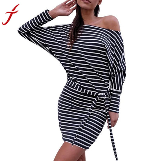 Sexy One Shoulder Dress for Elegant Women Lady Autumn Dress Women Stripe Long Sleeve Strapless O-Neck Bandage Pencil Mini Dress-009