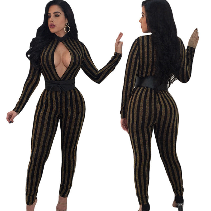 4205ba54d66 Fashion Gold Glitter Jumpsuit Women Long Sleeve Black Striped Sexy Hollow  Out Slim Celebrity Party Jumpsuits ...