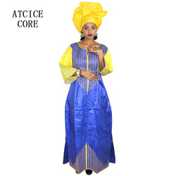 african dresses for women fashion design new african bazin embroidery design dress long dress with scarf two pcs one set A068#