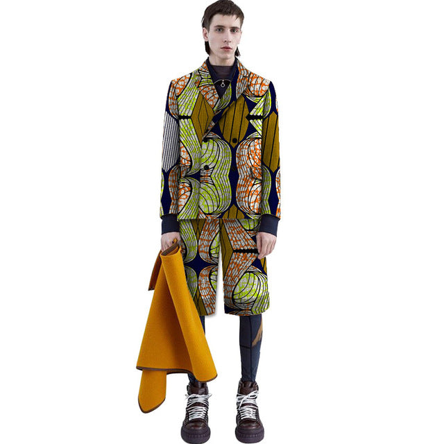 0df3dd9db Bright print suit set men african Long sleeved blazers and shorts ...