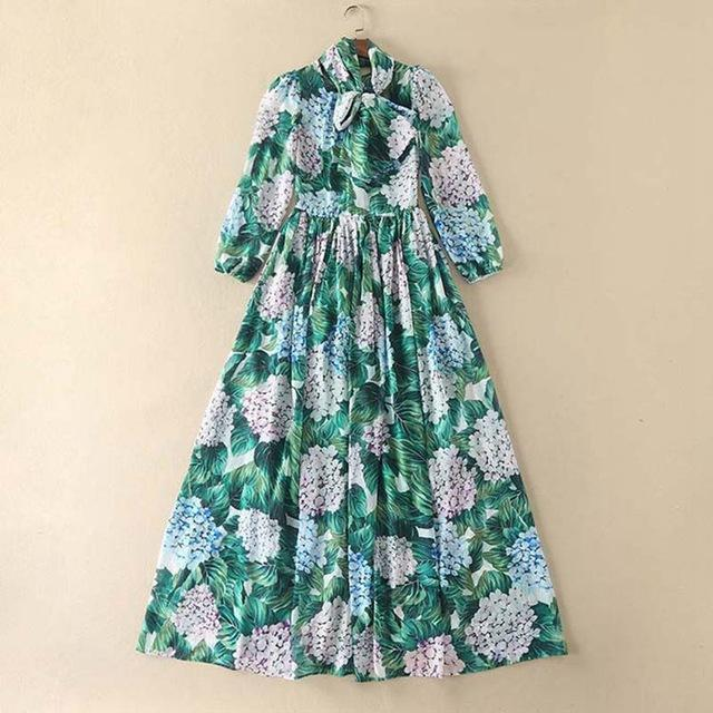2017 New Fashion Designer Runway Maxi Dress Women's Long Sleeve O Neck With Sashes Green Flora Print Summer Long Dresses