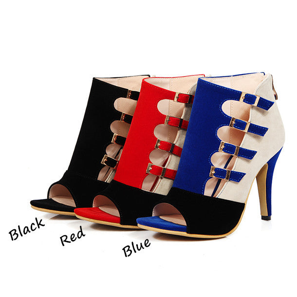 Women Open Toe Zip High Heel Sandals Pump Shoe Plus Size 33-43 - Owame