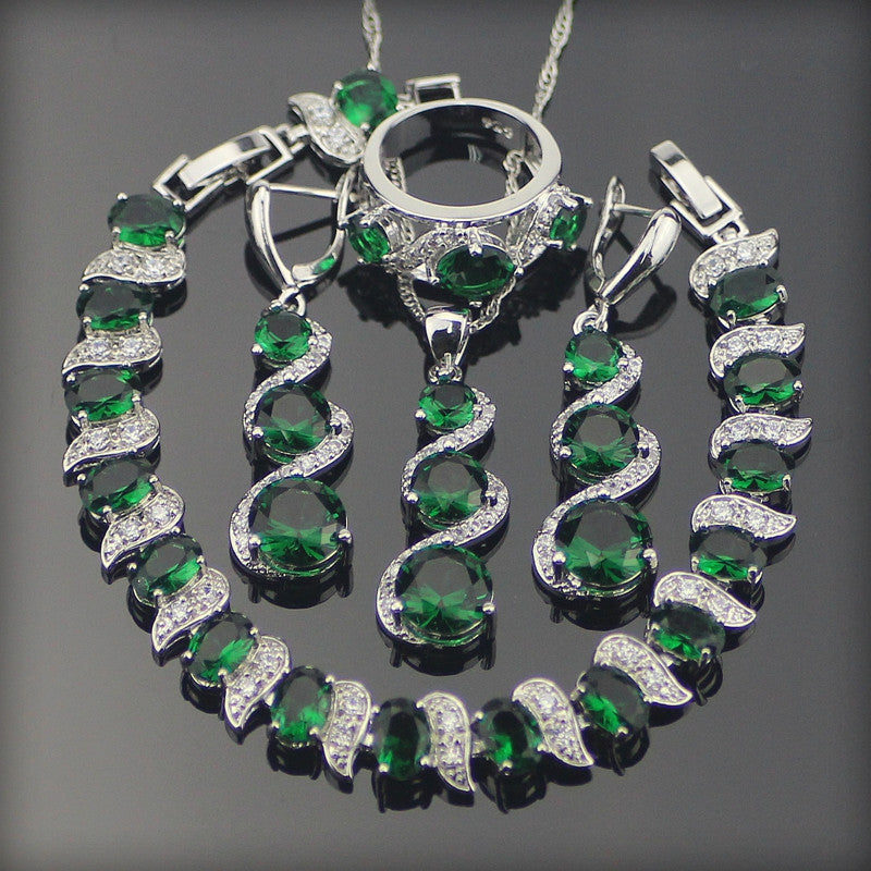 ... Green Zircon Bridal Silver 925 Costume Jewelry Sets For Women Jewelery Bracelets Rings Earrings Pendant Necklace ... & Green Zircon Bridal Silver 925 Costume Jewelry Sets For Women ...
