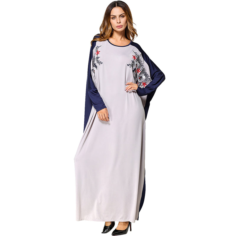 a0ce88dc36 Babalet Womens  Loose Soft O-Neck Muslim Islamic Clothing Embroidery Full  Length Loose Batwing