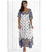 4XL 5XL plus size women Boho hippie Summer Beach tunic long Dress Print big/large size maxi skater dress-0WM1805