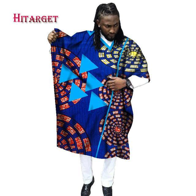 2017 African Print Wax Tailored Long Men Loose Plus Size Robe Dashiki Clothing Traditional African Mens O-neck Clothing WYN337