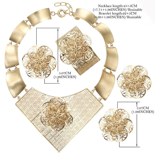 CWEEL Jewelry Sets Bridesmaid Luxury Turkish Jewelry For Women Flower African Jewellery Dubai Wedding Indian Jewelry Set