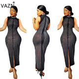 VAZN New Fashion Design 2018 Bandage Dress Women Sleeveless Maxi Long Dress O-Neck Sexy Club Dress H9351