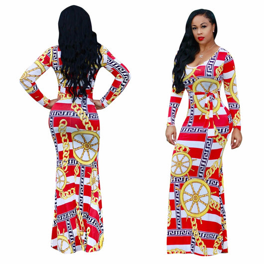 Womens Elegant Vintage Sexy O-Neck long sleeve Flower African print Fit and Flare Casual Party Prom Maxi Long Dress D1141
