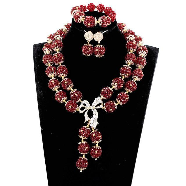 2017 Nigerian Wedding African Beads Jewelry Sets Luxury Dubai Gold Accessory Statement Jewelry Set Christmas Gift Jewelry ABH706