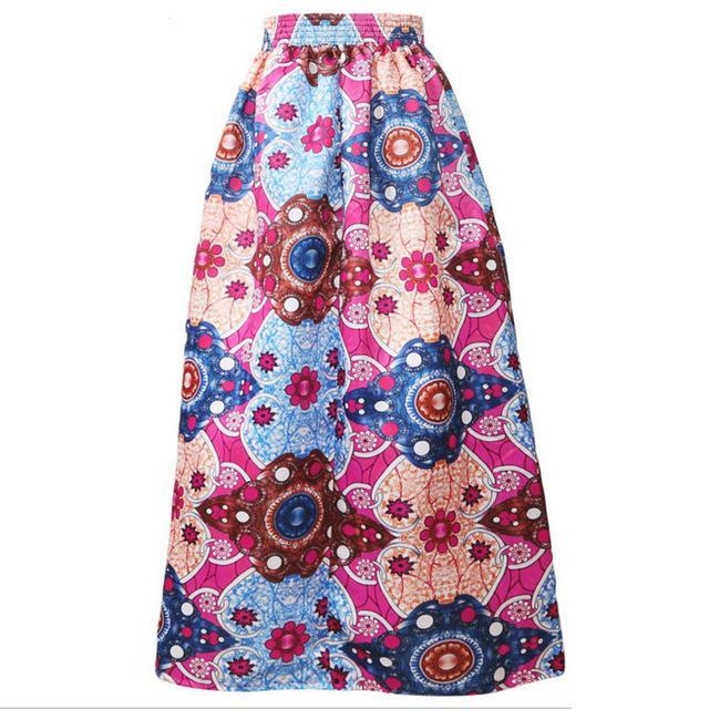 2017 women African Dashiki elastic Autumn winter summer Maxi beach skirt Floral print High Waist Pleated floor length long skirt