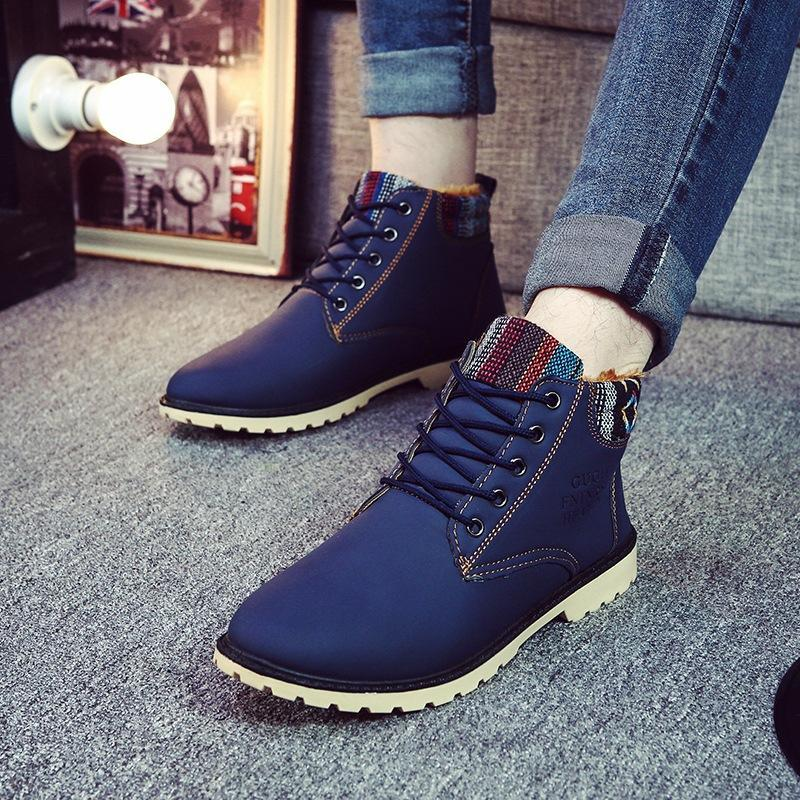 2017 winter new men to help cotton snow boots casual anti-skid boots plus cashmere
