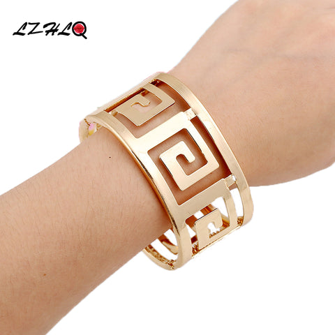 LZHLQ Fashion Geometric Hollow Wide Metal Bangle For Women 2017 Maxi Punk Bracelet Cuff Bangle Famous Brand Jewelry Accessories