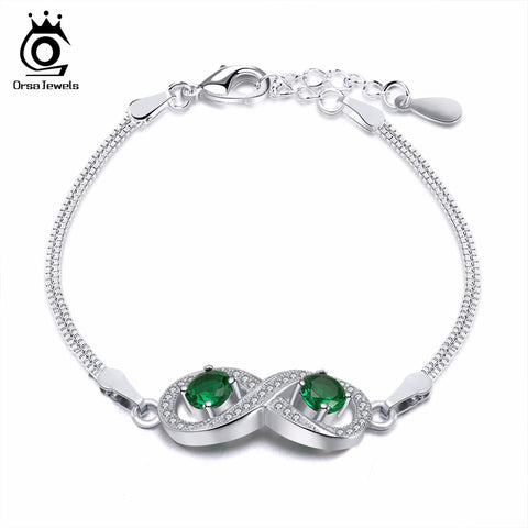 ORSA JEWELS Charm Bracelet for Women Infinity Snake Chain AAA Cubic Zircon Romantic Jewelry Gift Fashion Party Accessories OB54