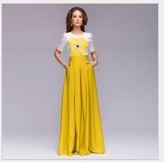 Elegant Women Maxi Dress Jewel Neck Floral Print Short Sleeve Long Dress Yellow Dresses-0WM1805