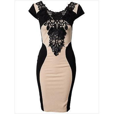 2017 new hot summer Sexy Women Lace Short Sleeve  Slim Pencil Party Dress