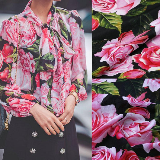 140cm width silk fabric,big rose flowers print soft silk crepe fabric for women dress. Mulberry silk satin shirt fabric tissue