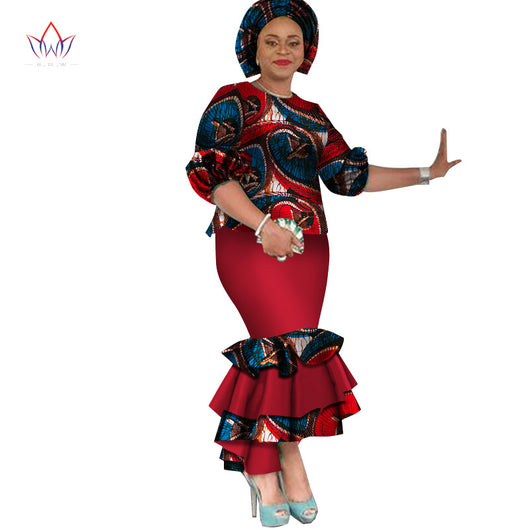 summer traditional african clothing dashiki O-Neck women african skirt suits natural ankle-length two piece set regular WY2529