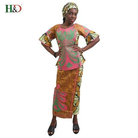 2017 New production traditional African ensemble Wax clothing Bazin riche dress for women 100% cotton casual with short sleeves