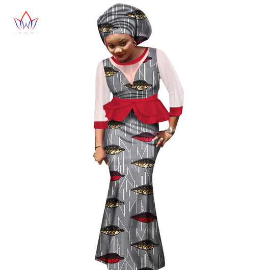BRW 2017 New african skirt sets for women lace fabric mix print wax fabric skirt suit top+skirt+headwrap wedding clothing WY1551