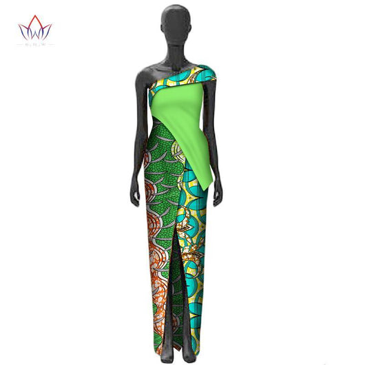 2017 Summer Sexy African Dresses for Women Split fork  Africa Clothes Customized traditional Africa clothing BRW WY2421