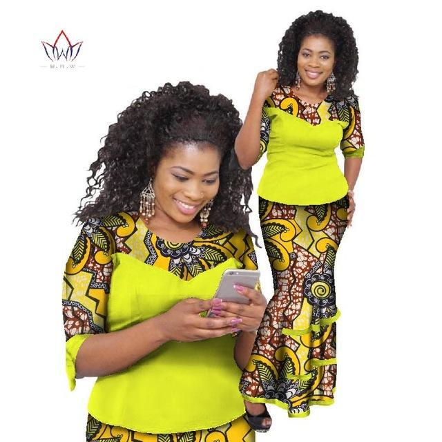 2017 Bazin Riche African Skirt Sets Wax Print Two Piece Set Africa Clothes for Women Traditional African Top And Skirt WY793